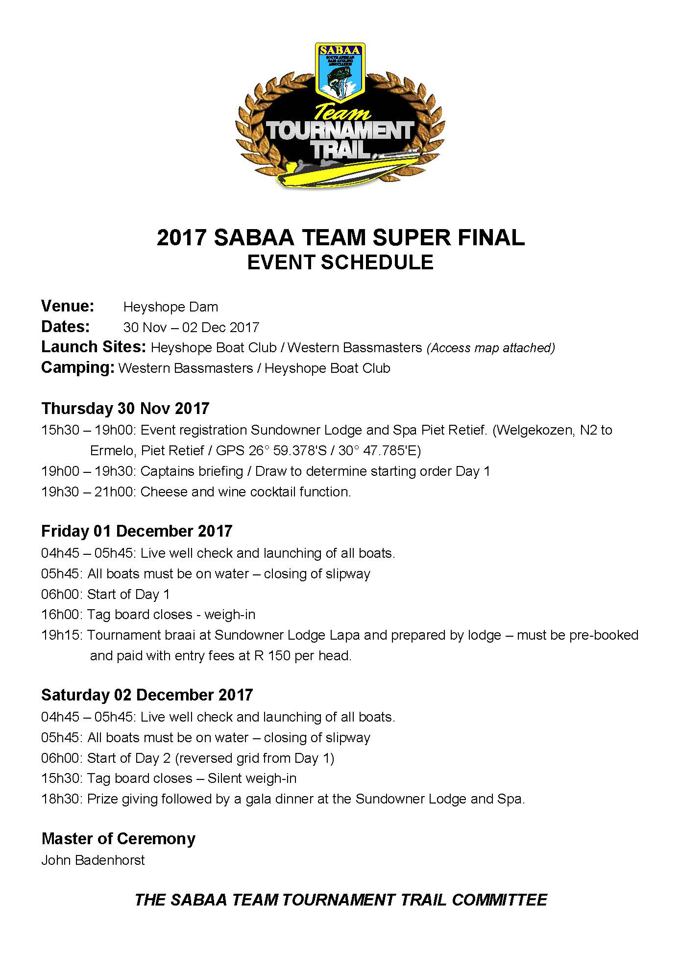 SABAA Final Event Schedule